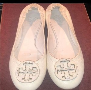 TORY BURCH WHITE Leather flats 7.5